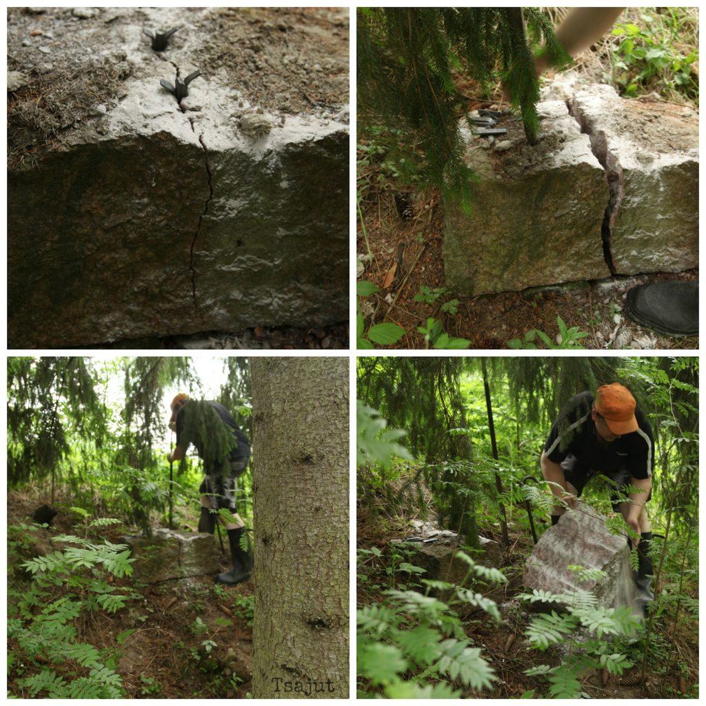 kiven halkaisu kivikiiloilla vaihe vaiheelta