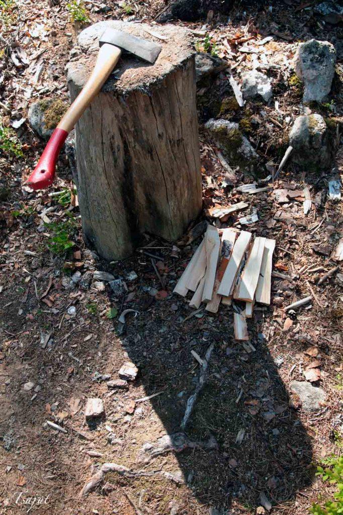 Hakkuupölkky, kirves ja polttopuita