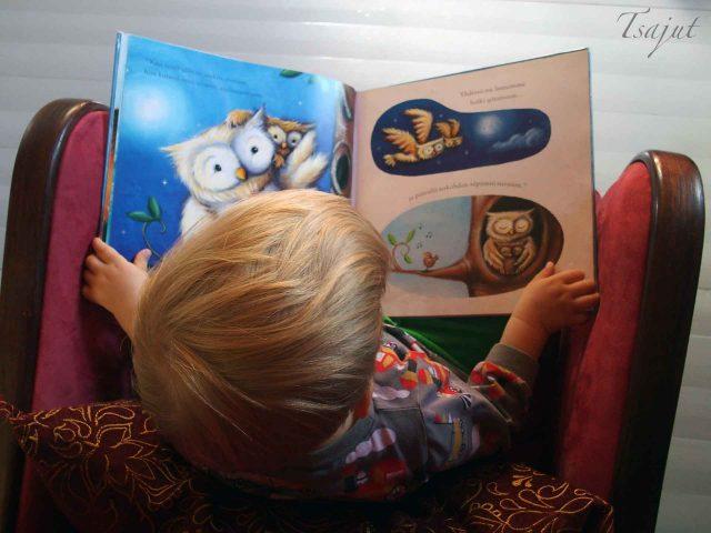 lapsi lukee kirjaa nojatuolissa