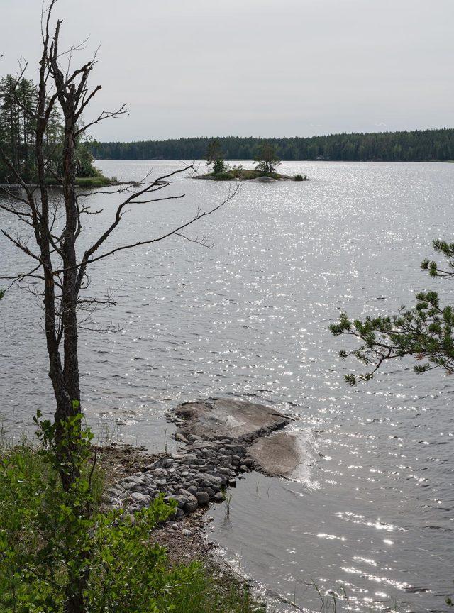 harmaa järvenpinta ja saaria